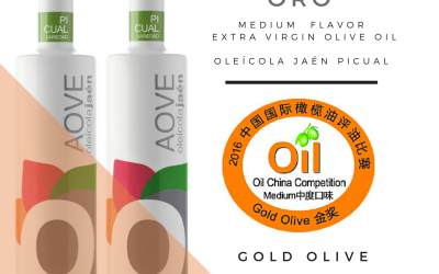 El AOVE Picual de Oleícola Jaén medalla de ORO en Oil China 2016.
